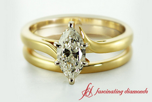 Solitaire Diamond Wedding Ring Set