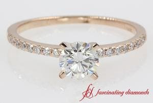 Round Cut Diamond Petite Engagement Ring In 14K Rose Gold
