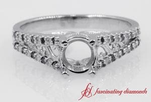 Filigree Split Diamond And Black Diamond Ring Settings In White Gold