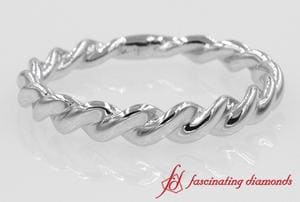 Twisted Rope Design Wedding Band For Men In 14K White Gold