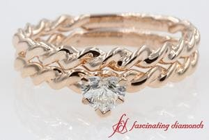Twist Rope Style Solitaire Heart Shaped Wedding Ring Sets In Rose Gold