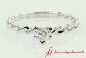 Heart Shaped Diamond Rope Ring