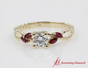 Gold Ring With Ruby Accents