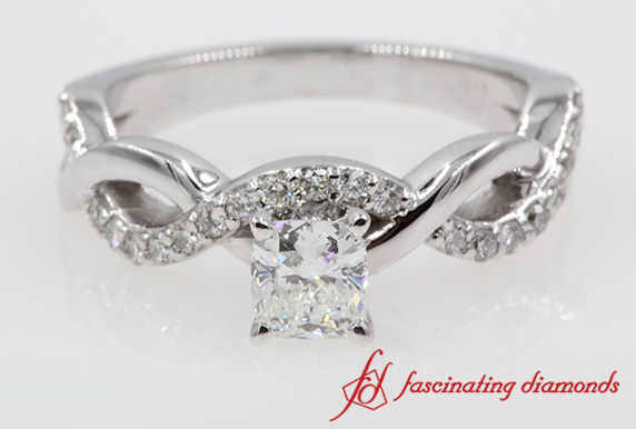 Cushion Cut Diamond Twist Engagement Ring For Women In White Gold