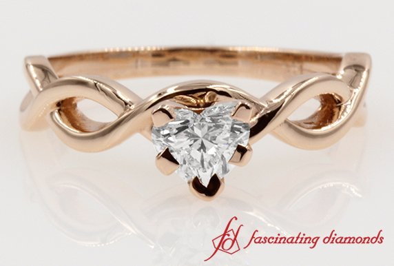0.50 Carat Heart Diamond Braided Ring