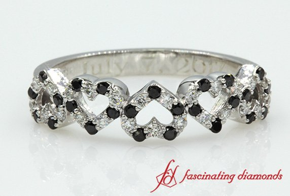 White Gold Heart Design Diamond Band