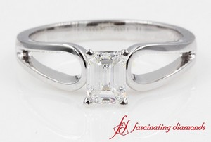 Loop Design Emerald Cut Engagement Ring