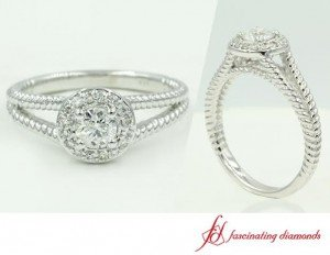 Double Shank Halo Style Engagement Ring