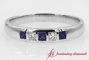 5 Stone Flush Set Princess cut With Sapphire Band