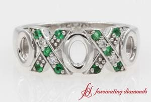 O X Design Diamond With Emerald Wedding Band In 14k White Gold