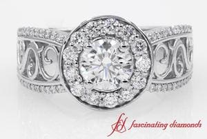 Filigree Vintage Style Round Halo Diamond Ring