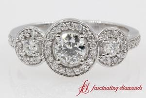 Round Pave Three Stone Halo Diamond Engagement Ring