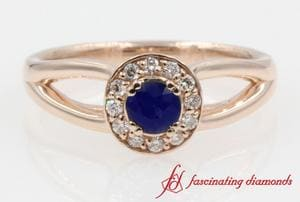 Sapphire With Diamond Halo Engagement Ring
