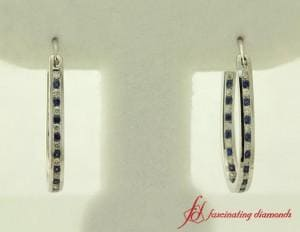 Sapphire And Diamond Hoop Earring