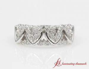 Interlinked Heart Design Wide Diamond Band
