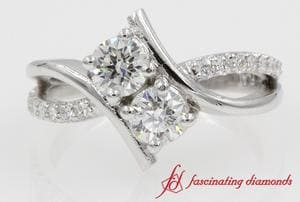 2 Stone Diamond Ring For Ladies