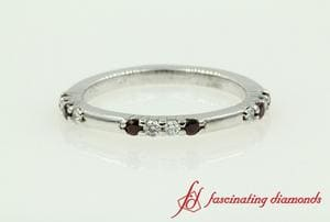 Round Diamond With Ruby Wedding Band