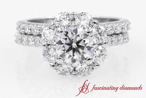 Flower Halo Round Cut Diamond Wedding Ring Set