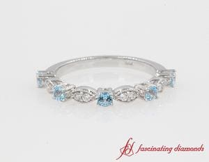Milgrain diamond with Blue Topaz band for women