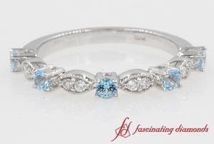 Blue Topaz Milgrain Band