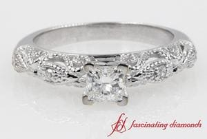 Antique Filigree Milgrain Princess Cut Diamond Engagement Ring