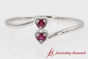 2 Ruby Stone Heart Promise Ring In 14k White Gold