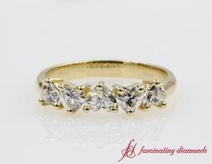 Exclusive 5 Stone Heart Shaped Diamond Band