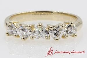 Exclusive 5 Stone Heart Shaped Diamond Band In 14K Yellow Gold