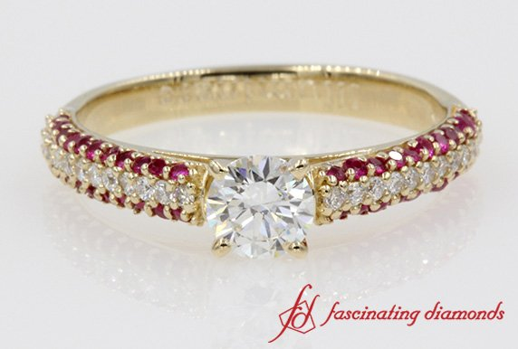 Micropave Natural Round Diamond With Ruby Engagement Ring