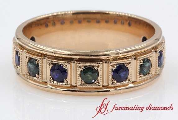 Round Emerald With Sapphire Band
