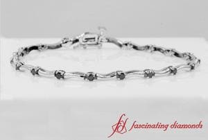 Delicate Wave Black Diamond Bracelet in 14K White Gold
