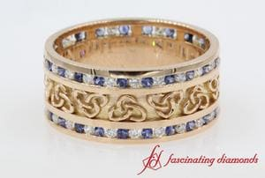 Wide 3 Row Diamond And Sapphire Wedding Anniversary Band For Men