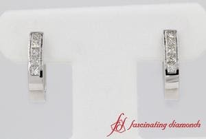 Platinum Princess Cut Diamond Hoop Earring