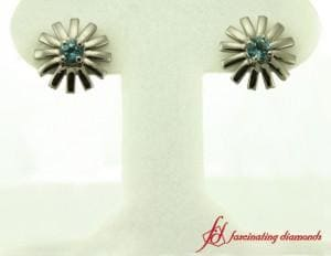 Blue Topaz Womens Stud Earring White Gold