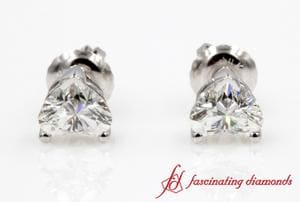 One Carat Heart Cut Diamond Earring