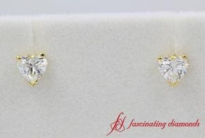 Heart Cut Diamond One Carat Stud Earrings