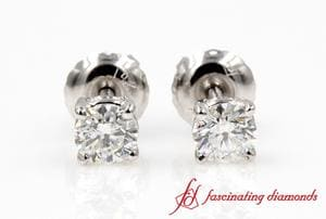 0.60 Carat Round Cut Diamond Stud Earring