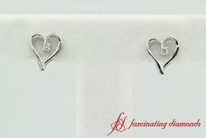 White Gold Round Diamond Heart Stud Earring
