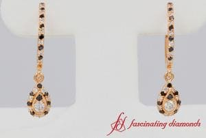 White And Black Diamond Teardrop Hoop Earrings In Rose Gold