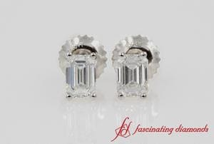 One Carat Emerald Cut Diamond Stud Earring Platinum