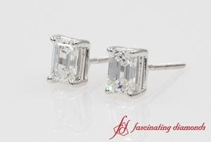 1 Carat Emerald Cut Diamond Stud Earring