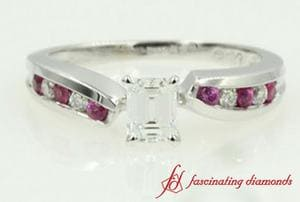Interwoven Pink Sapphire And Emerald Cut Diamond Channel Set Engagement Ring