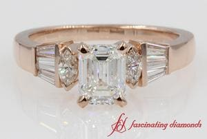 Rose Gold Tapered Baguette Bar Set Emerald Diamond Engagement Ring