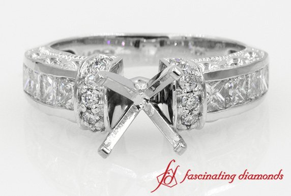 Antique Princess Cut And Round Diamond Ring Without Center Stone in White Gold
