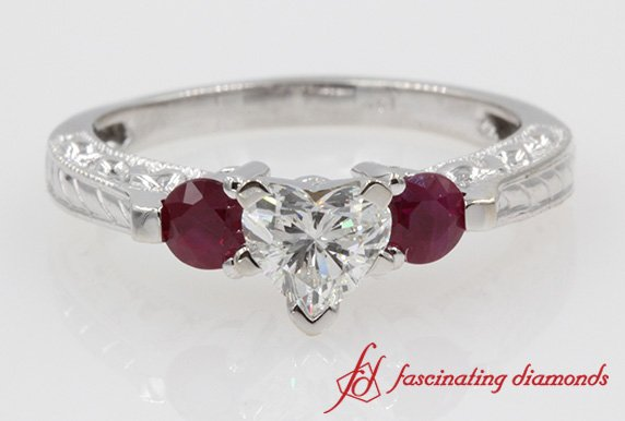 Ruby Heart Diamond 3 Stone Rings