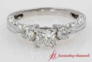 3 Stone Princess Cut Engagement Ring