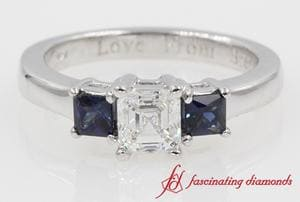 Three Stone Asscher Cut Diamond Engagement Ring In 14K White Gold
