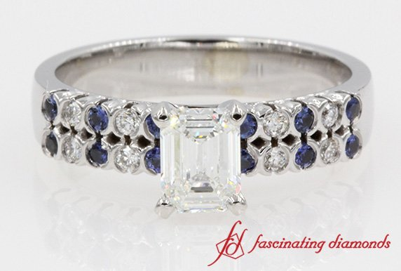 Emerald Cut Diamond And Sapphire Ring