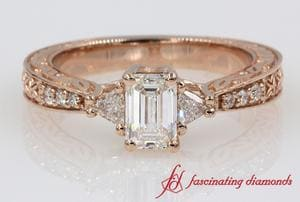 Trillion Diamond Vintage Look Ring
