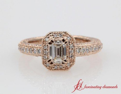 Halo Pave Diamond Milgrain Ring